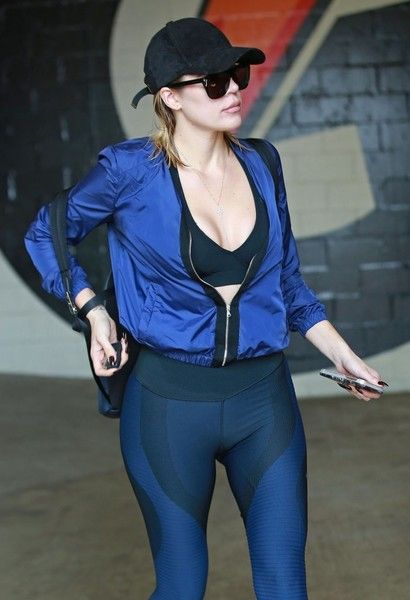 Reality star Khloe Kardashian is seen leaving a gym in Beverly Hills.