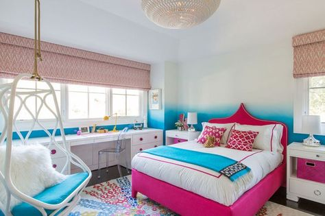 In the oldest daughter's room, an ombr wall treatment and a bed upholstered in hot-pink linenare balanced by white lacquer built-ins.
