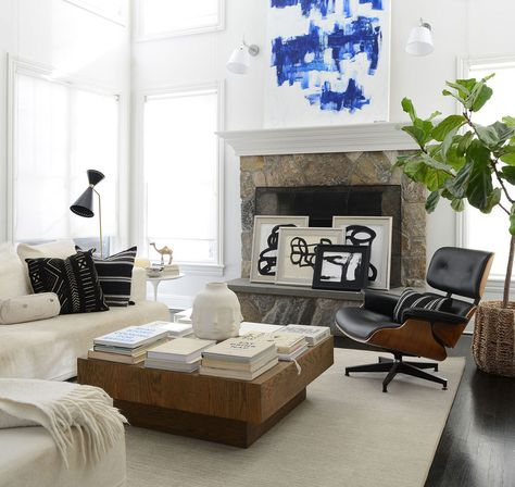 A white-and-beige living room in the Weston, Connecticut, home of artist Kerri Rosenthal.