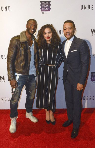 "Aldis Hodge, Jurnee Smollett-Bell, and John Legend arrive at WGN America's ""Underground"" Season Two Premiere Screening At The Smithsonian National Museum Of African American History And Cultureon February 22, 2017 in Washington, DC."