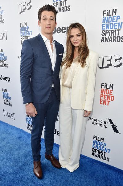 Actor Miles Teller and model Keleigh Sperry attend the 2017 Film Independent Spirit Awards.