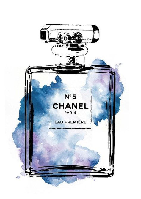 Chanel No5 water color A4 digital print Chanel by hellomrmoon