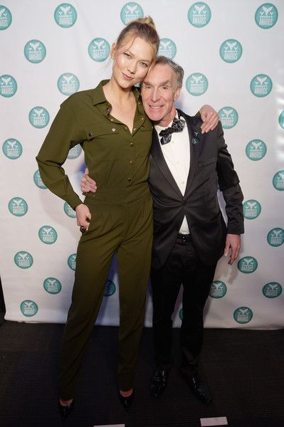 Karlie Kloss and Bill Nye pose backstage at the The 9th Annual Shorty Awards.