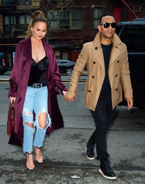 Couple Chrissy Teigen and John Legend are spotted out and about in New York City.