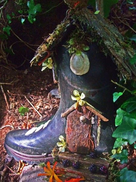 Recycled Rain Boot - Sweet and Whimsical Miniature Fairy Garden Ideas - Photos