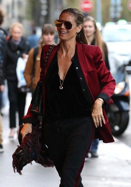 Supermodel Heidi Klum and her boyfriend Vito Schnabel arrive at Lipp restaurant in Paris.