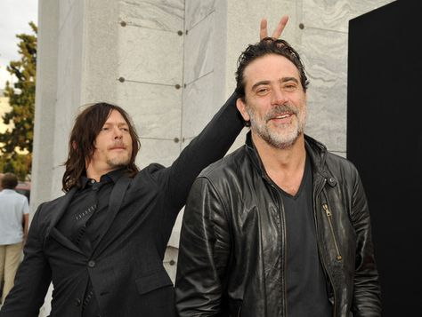 Actors Norman Reedus and Jeffrey Dean Morgan attend as AMC presents 'Talking Dead Live' for the premiere of 'The Walking Dead.'