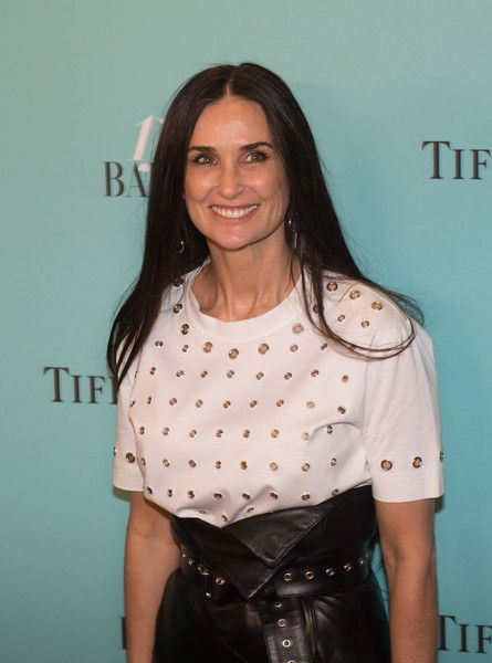Actress Demi Moore arrives for the Harper's Bazaar and Tiffany & Co. celebration of 150 years of women, fashion and New York at The Rainbow Room in NYC.