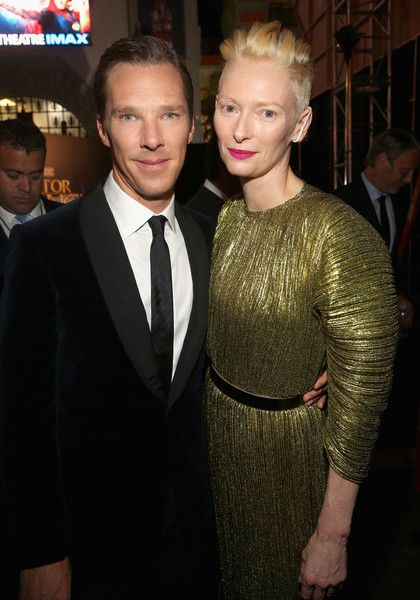 """ActorS Benedict Cumberbatch and Tilda Swinton attend The Los Angeles World Premiere of Marvel Studios' 'Doctor Strange""""' in Hollywood."""
