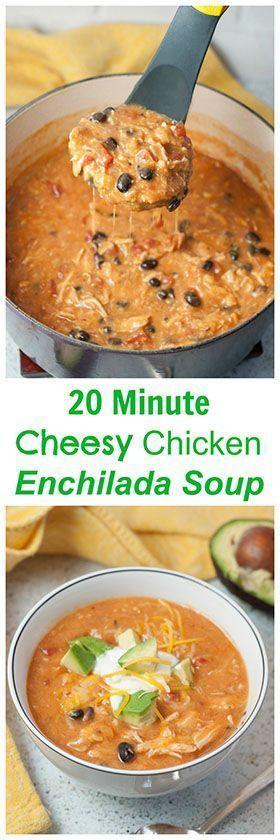 20 Minute Cheesy Chicken Enchilada Soup