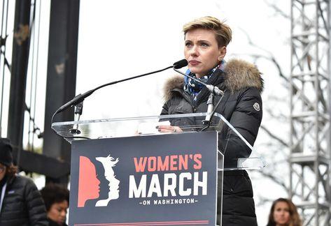 Scarlett Johansson attends the Women's March on Washington.