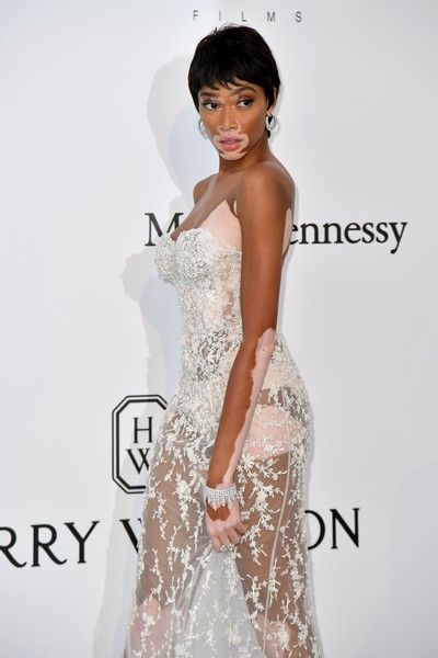 Canadian model Winnie Harlow arrives for amfAR's 24th Cinema Against AIDS Gala.