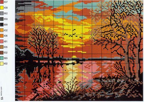 Схемы для вышивок крестом пейзажи 62