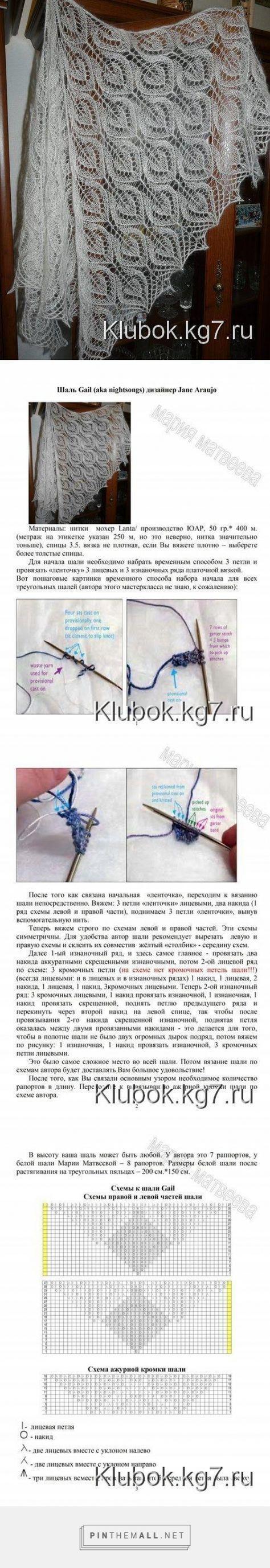 Ажурный палантин спицами схемы и описание фото