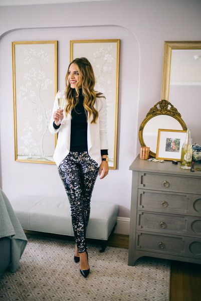 Sequined Pants and a White Blazer - Classy and Glam New Year's Eve Outfit Inspiration - Photos