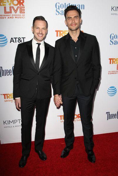 Actors Jason Landau and Cheyenne Jackson attend The Trevor Project's 2016 TrevorLIVE LA.