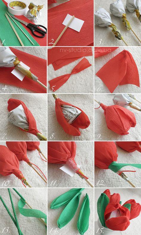 Гофрированная бумага поделки цветы с конфетой