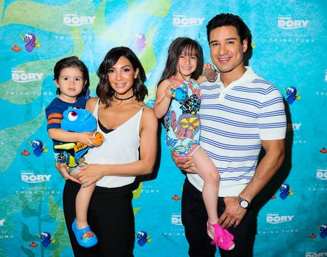 (L-R ) Dominic Lopez, Courtney Lopez,Gia Lopez and Mario Lopez celebrate the launch of the Disney Pixar 'Finding Dory' collection from Trina Turk on May 19, 2016 in Manhattan Beach, California.