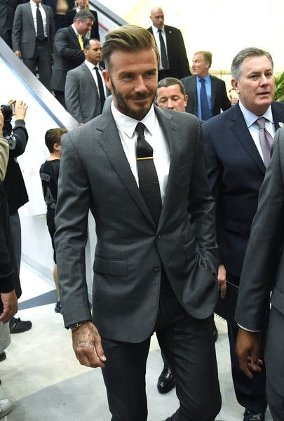 Former soccer player David Beckham arrives at a Southern Nevada Tourism Infrastructure Committee meeting with Oakland Raiders owner Mark Davis (not pictured) at UNLV on April 28, 2016 in Las Vegas, Nevada. Davis told the committee he is willing to spend USD 500,000 as part of a deal to move the team to Las Vegas if a proposed USD 1.3 billion, 65,000-seat domed stadium is built by casino magnate Sheldon Adelson's Las Vegas Sands Corp. and real estate agency Majestic Realty, possibly on a vaca...