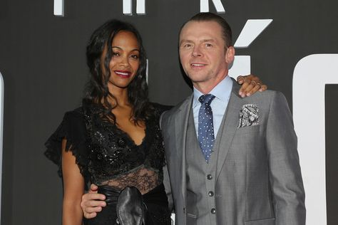Actress Zoe Saldana and Actor Simon Pegg attend the premiere of 'Star Trek Beyond' in Mexico City.