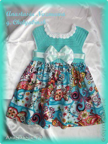 Комбинированное платье для моей дочурки croche Pinterest Posts