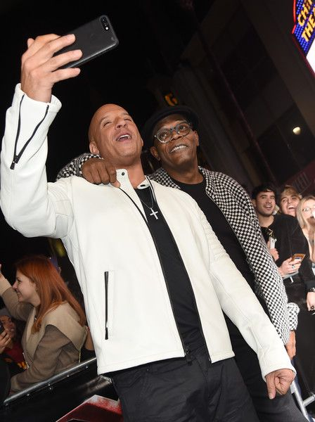 """Actors Vin Diesel (L) and Samuel L. Jackson arrive at the premiere of Paramount Pictures' """"xXx: Return of Xander Cage"""" at the Chinese Theatre on January 19, 2017 in Los Angeles, California."""