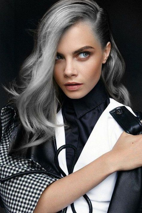 The how to steps for cool grey hair: dying your hair bleach blond, toning out the orange spots, and then using shades of violet dye to give you a nice, grey hue.