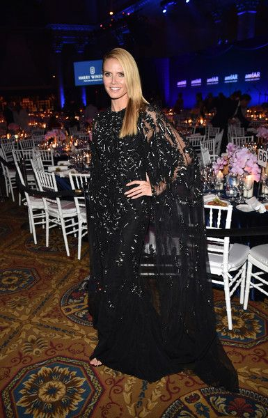 Heidi Klum attends as Moet & Chandon Toasts to the amfAR Gala at Cipriani Wall Street.