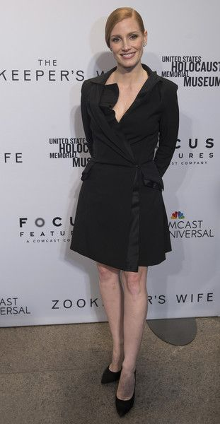 Jessica Chastain arrives at the premiere of new flick 'The Zookeeper's Wife.'