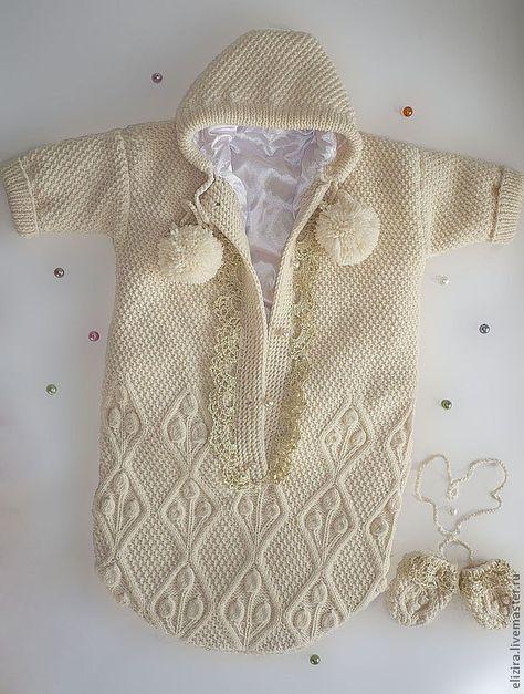 Конверт для новорожденного спицами. Подробный мастер-класс по вязанию. Нарядный вязаный конверт - хороший подарок новорожденному