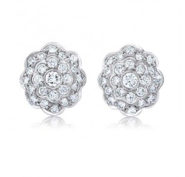 Gem Platinum Large Cluster Earring