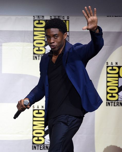 Actor Chadwick Boseman attends the Marvel Studios presentation during Comic-Con.