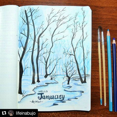 I've been waiting for days to post this January page on New Year's! Happy New Year to all. Beautiful job, @lifeinabujo . . #Repost @lifeinabujo with @repostapp ・・・ Good morning bujo-friends! It will be January in a few days and I'm setting everything for the new month. The trees are came back. I always dream about living near a forest and I hope one day I could do. I love drawing animals and cute doodles but sometimes I need to express my deepest feelings and these last few days I felt very c...