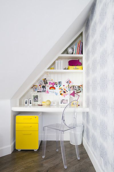 Contemporary Work Space: A corner desk area in a kid's bedroom .