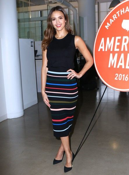 Jessica Alba is seen speaking at the American Made Event.