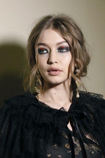 Model Gigi Hadid is seen backstage ahead of the Alberta Ferretti show during Milan Fashion Week.