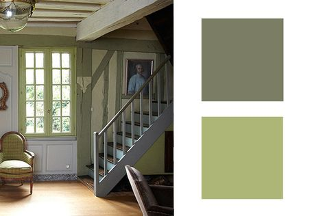 "Perfect Designer-Approved Color Combinations—A twosome that would instantly read ""camo"" to most out of this countryside context, instantly evokes a French cottage when painted on aged-wood beams and spindly window mullions."