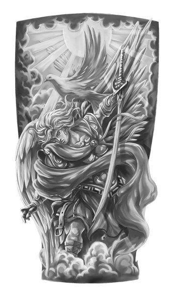 Angel half sleeve tattoo designs drawings