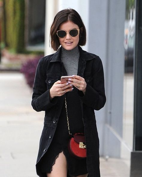 Actress Lucy Hale stops by a hair salon in West Hollywood.