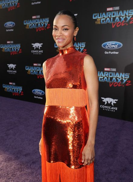 "Actor Zoe Saldana attends the World Premiere of Marvel Studios'' '""Guardians of the Galaxy Vol. 2.'"
