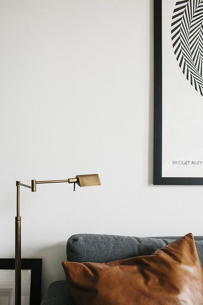 Contemporary Modern Lighting: Brushed Gold Floor Lamp over couch.