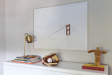 """Sophisticated yet fun artwork is a must,"" the designer insists, pointing to the photograph of the Golden Gate Bridge, her son's favorite San Francisco landmark."