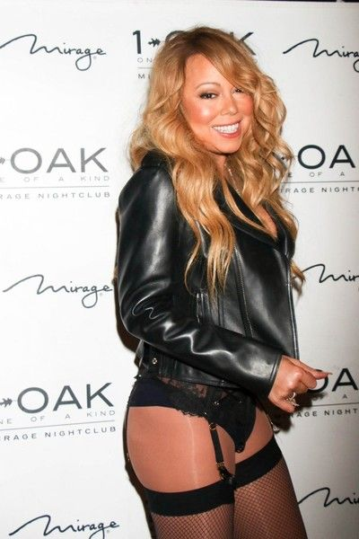 Singer Mariah Carey hits the turntables at her very first DJ set in 1 OAK nightclub at the Mirage Hotel & Casino in Las Vegas, Nevada on June 25, 2016.  She showed off her legs and backside.