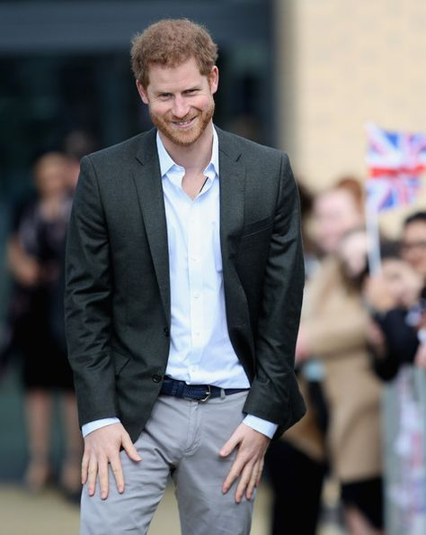 Prince Harry is seen during a visit to Hamilton College in Leicester, England.