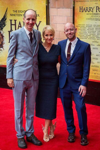 Jack Thorne, J. K. Rowling, and John Tiffany attend the press preview of 'Harry Potter & The Cursed Child' at Palace Theatre in London.