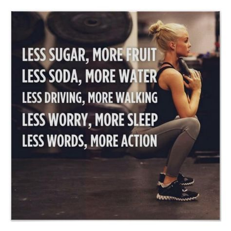Women's Fitness Inspirational Words - More Action Poster