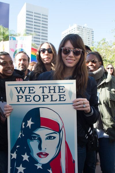 Actress Jessica Biel attends the Women's March in Los Angeles.