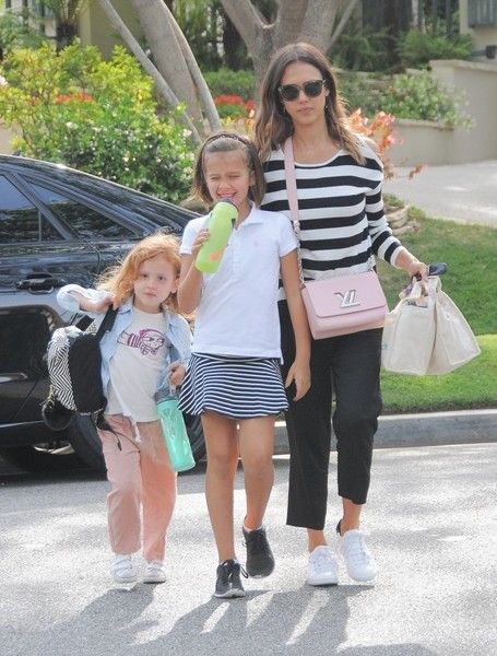 Jessica Alba and her daughters visit her friend in Beverly Hills.