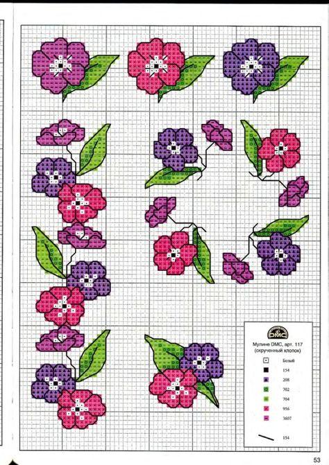Цветы схема вышивки крестом простая схема 23