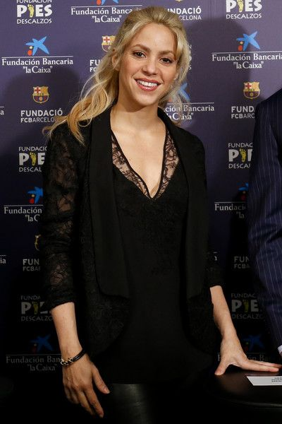 Colombian singer and founder of Colombian NGO Fundacion Pies Descalzos Shakira poses at the Camp Nou stadium in Barcelona.